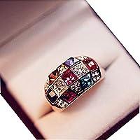 CHIC*MALL Luxury Women Colourful Rhinestone Crystal Finger Dazzling Ring Jewelry