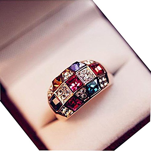 CHIC*MALL Luxury Women Colourful Rhinestone Crystal Finger Dazzling Ring Jewelry