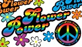 Autoaufkleber, Blumendesign: Love and Peace 01 Rainbow Style