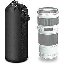 Mekingstudio Bolsa de Objetivo Lente DSLR Cámara de Neopreno 22*10cm Protector Negro Suave Lens Pouch Bag para Sony Canon Nikon Olympus Pentax Panasonic, Tamaño Grande Extra