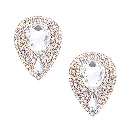 Elegantpark FL Goccia d'acqua Design Clip di scarpe Decorazioni di gioielli Charms Accessori per feste di nozze Argento 2 pezzi