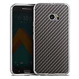 DeinDesign HTC 10 Silikon Hülle Case Schutzhülle Carbon Look Schwarz Grau Metal