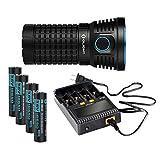 Olight® X7 Marauder 9000 Lumen Taschenlampe mit 3 x Cree XHP70 NW LED - inkl. 4 x HDC (High Discharge Current) 3500mAh 18650 Lithium-ion Akkus und 1 X C4 Ladegerät - Super hell, Kompakt und Tragbar (Neutralweiß Licht) - 3