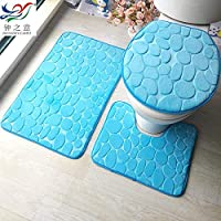 Bathroom toilet seat three sets of water absorbing spongetoilet O shape cover U type padding slip mat