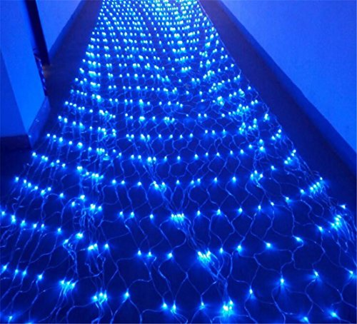 FFJTS Blau 1 * 10 m Gypsophila Funkeln Netz Fairy Schnur Licht Xmas 8 Flash Modi Controller wasserdicht Unkraut Party Garten Nacht Dekoration (Unkraut-home)
