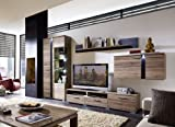 Stella Trading TV-Wohnlösung Inklusive LED Beleuchtung, Eiche Dunkel Modernes Wohnprogramm Wohnwand Set 5-Teilig, Holz, Braun, 331.00 x 54.00 x 202.00 cm