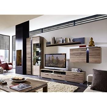 Schön Stella Trading TV Wohnlösung Inklusive LED Beleuchtung, Eiche Dunkel  Modernes Wohnprogramm Wohnwand Set 5 Teilig, Holz, Braun, 331.00 X 54.00 X  202.00 Cm