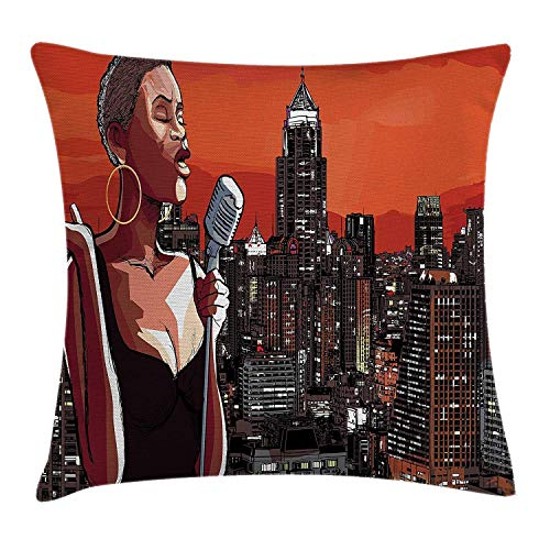 MZZhuBao Afro Decor Throw Pillow Cushion Cover by, Jazz Singer on New York Roof Cityscape Urban Music Popular Town Illustration, Decorative Square Accent Pillow Case, 18 X 18 Inches, Orange Brown