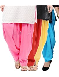 Crafts 100% Pure Solid Cotton Semi Patiala Salwar Bottoms Indoor Outdoor For Women's & Girls( Color White / Red... - B0764CNS7Q