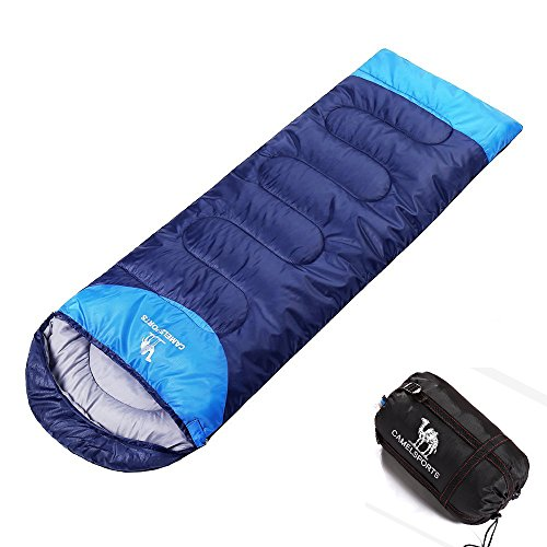 Camel Portable Sleeping Bag, can Combined be Double Sleeping Bag, with Lightweight Compression Sack, Outdoor Hiking Camping Tools Gear for Kids Men Women, 3 Seasons (Blue, Left Side Zipper)