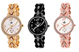 Swisso Combo of 3 Golden, Black and Rose Gold Stone Studded Analog Watch for Women