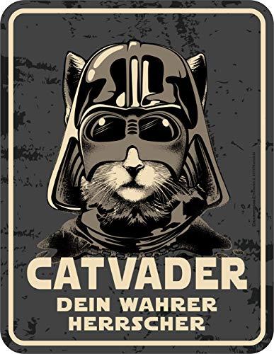 Rahmenlos targa decorativa in metallo per l'amante del gatto: catvader – il tuo vero padrone