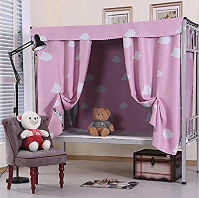 Bed Curtain Thicker physical Shading cloth Bed mantle student dorm room Bedroom Top shop lower berth , pink , 1.5MX2M