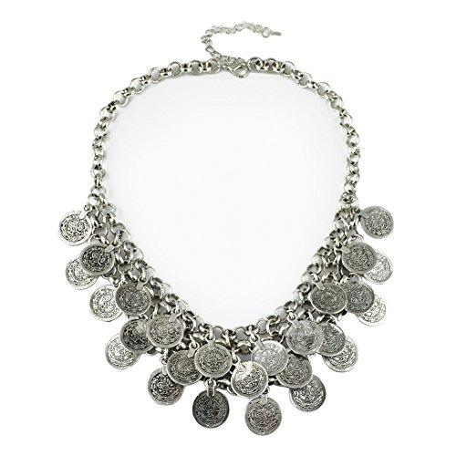 Chiconon Halskette für Damen Münze Design Kettenlänge 46cm aus Metallegierung + Plattiert Mädchen Frauen Anhänger