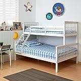 FoxHunter Bunk Bed Wooden Frame Children Triple Sleeper No Mattress White Single Top Double Base Furniture New