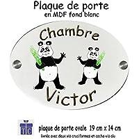 Texti-Cadeaux-Plaque de Porte de chambre personnalisable Panda avec Prénom