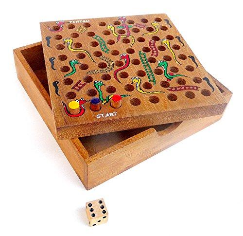Logica Spiele Art. SCHLANGEN UND LEITERN - Schachtel aus Holz - für Reisende - Würfelspiel - Gesellschaftsspiel