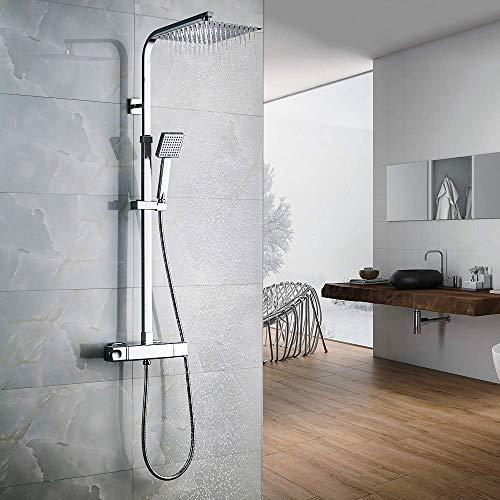 Auralum colonna doccia con miscelatore termostatico con soffione e doccetta, sistema doccia antiscottatura