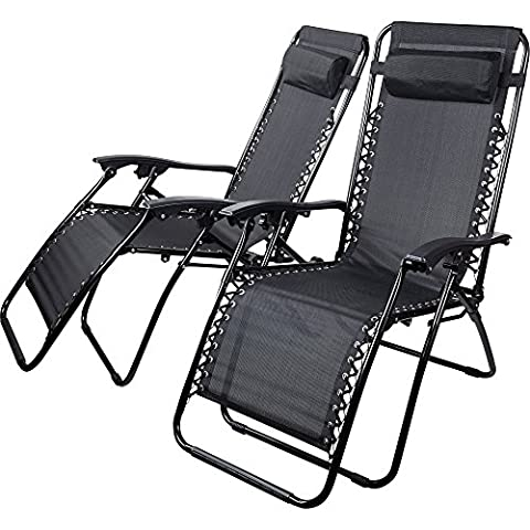 Set of 2 Black Textoline Zero Gravity Reclining Garden Sun Lounger Chairs