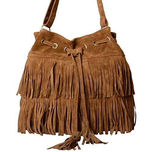 LATH.PIN Damen Vintage Umhängetasche Schultertasche mit Fransen Troddelbeutel Messenger Tasche -