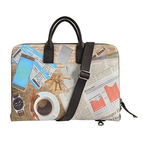 CTM Kleine Aktentasche für Mann und Frau, Reißverschluss, Innen Schultergurt 40x28x3 cm Kaffee