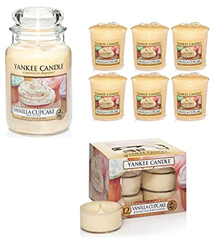 Official Yankee Candle 19 Piece Gift Set Vanilla Cupcake Large Jar, Scented Tea Lights And Votive Candles