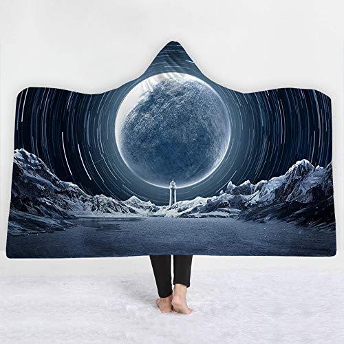 FimGGe Dicke Kapuzendecke Sternenhimmel Mond Drucken Winterbett Werfen Weiche Warme Tragbare Decke Sherpa Fleece Joyous Cobija Cobertor-150 cm * 200 cm -