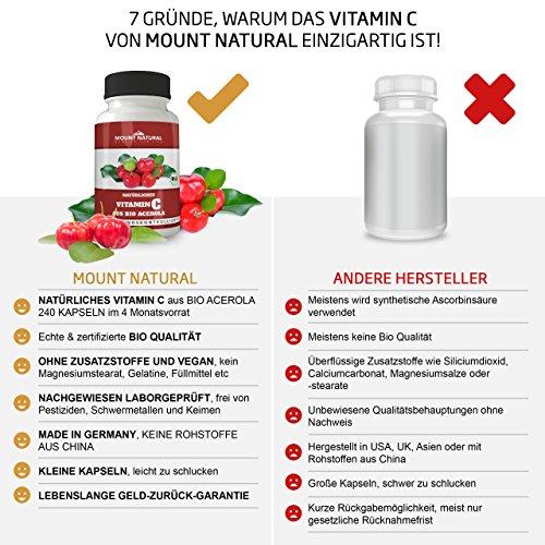 Mount Natural Bio Vitamin C Aus Reinem Acerola Extrakt – 240 Vegane Kapseln Für 4 Monate + Natürliche Bioflavonoide & Laborgeprüft Aus Deutschland