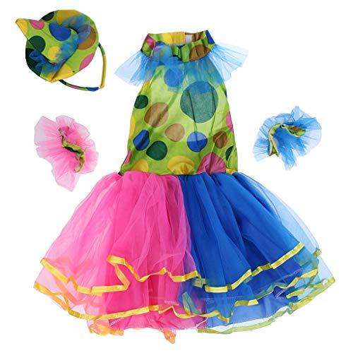 Tubayia Kinder Mädchen Tütü Rock Zirkus Clown Kleid Kostüm für Cosplay Halloween Party (L)