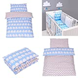 Parure de lit bébé avec DESIGN REVERSIBLE - ZigZag Eléphants Bleu 100x135 Cm