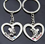 1 PAIR Forever Love Mickey Mouse Couple Keychain Love Key Chain Valentine Sweethearts Key Ring by ALLSCARF007