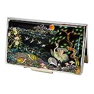 Porte-cartes de visite rigide, 15-20 cartes, décoration design asiatique en nacre naturelle. Cadeau original