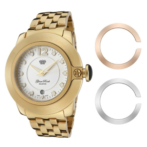 Glam Rock Women's GR32055 SoBe White Dial Gold Ion-Plated Stainless Steel Watch