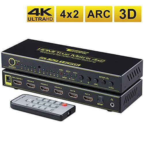 Tendak 4x2 HDMI Matrix Switch Umschalter + Optisch SPDIF Toslink 3,5mm Audio Extractor Unterstützung ARC, 4K, 3D für Blu-ray Player, Xbox, Sky, HDTV (Hdmi Switch Toslink)