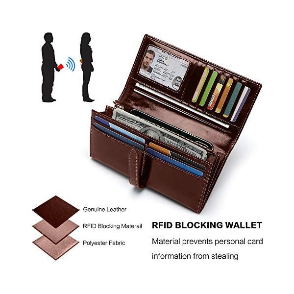 Portafoglio Uomo Borsellino di Vera Pelle Portafoglio Donna Grande Capacità Porta Carte di Credito Portamonete con RFID… 5 spesavip