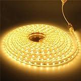 LEDMOMO Bett Licht Streifen leuchten Wasserdichte 220V LED Band Dekoration 2M (Warmweiß)