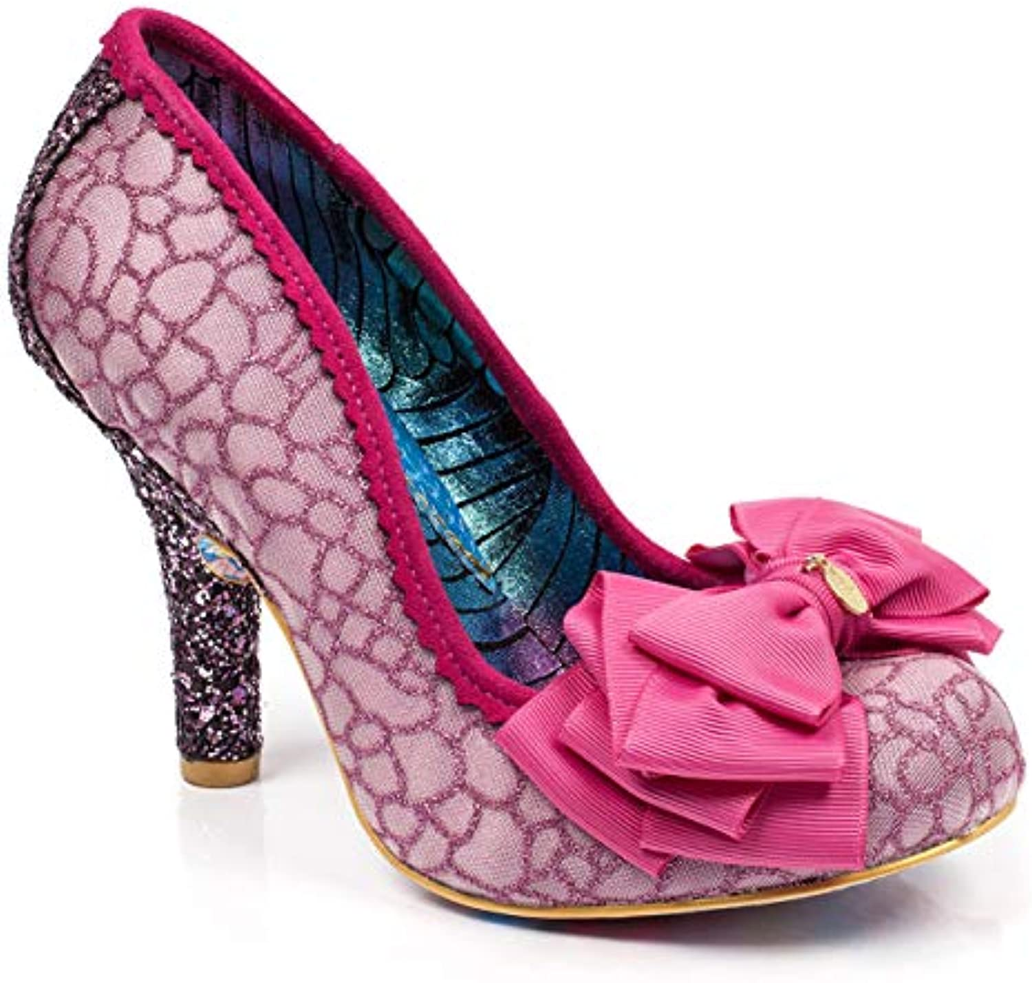 Wo  Irregular Choice Ascot Bridal Party Work Shoes Mid Heel Court Shoes Work - Pink/White - 7.5B07FF7QW44Parent 5557a6