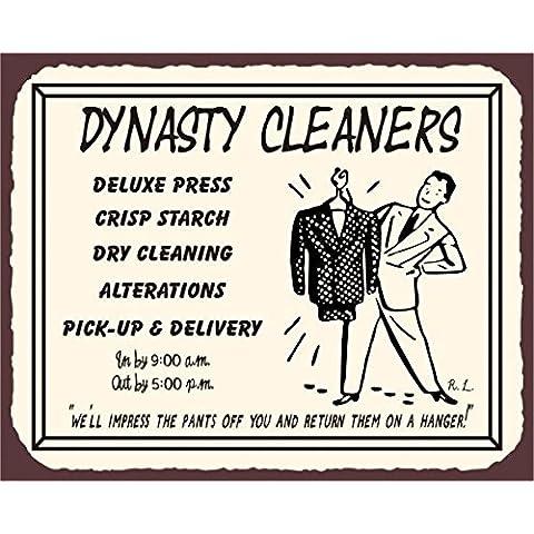 Dynasty Cleaners Vintage Metal Art biancheria pulizia latta metallo Tin Sign 7x 10segni in metallo vintage