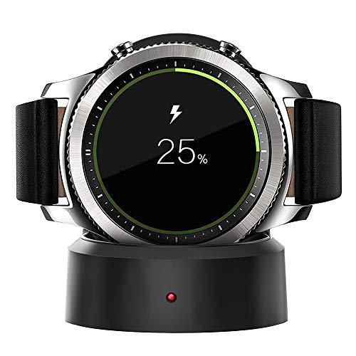 XIMU kompatibles mit Samsung Galaxy Watch Ladestation 42mm / 46mm, Ladestation für Samsung Galaxy Watch Samsung Gear S3 Tragbarer Ladestation Ladestation mit USB-Kabel (Schwarz)