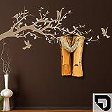 DESIGNSCAPE® Garderobe Ast mit Vögel und Blätter 160 x 70 cm (Breite x Höhe) Farbe 1: schwarz inkl. 6 Edelstahl Wandhaken DW811004-L-F4