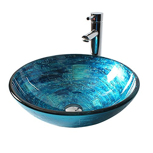 Homelavafans Modern Design Gehärtetes Glas Waschbecken Rund Blau mit Ablaufgarnitur, Mont