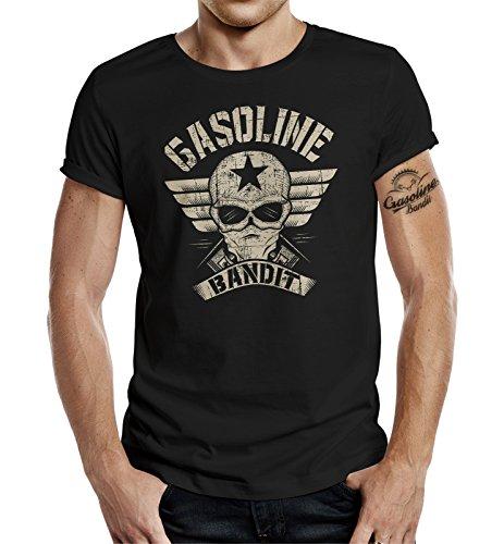 Original GASOLINE BANDIT® Design Biker Shirt: Bandit Wing Schwarz