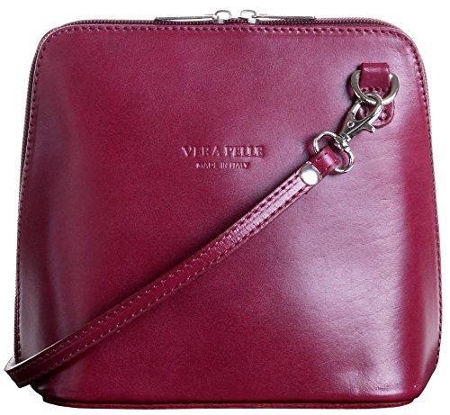 Primo Sacchi Italienisches Leder handgefertigt Pflaume lila klein/Micro Umhängetasche oder Schultertasche Handtasche.Beinhaltet eine schützenden Aufbewahrungstasche gebrandmarkt.