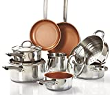 Best Copper Cookware Sets - Cermalon 11-Piece Cookware Set, Stainless Steel, Copper, 50 Review