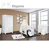 Babyzimmer Enni Hochglanz 19-tlg. mit 2 türigem Kl. + Textilien Elegance, Weiß