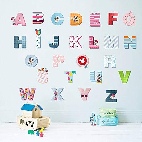 Dokfh Karton Mickey Mouse 26 Englisch Buchstaben Kinder Baby Aufwachsen Wesentliche Vorschule Wandaufkleber Für Kinderzimmer Dekoration