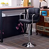 Hollylife 2 x Breakfast Swivel Bar Stools Kitchen Faux Leather Chair Height Adjustable 57 to 75 cm (2PCS, Black)