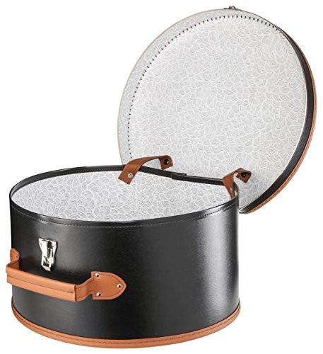 Lierys runder Hutkoffer schwarz   Maße: 40 cm x 21 cm   große Hutschachtel aus Kunstleder   Hutbox...