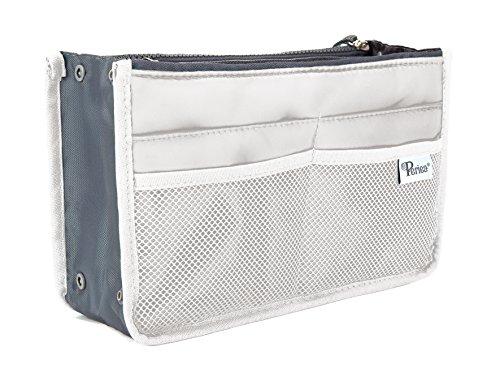 Periea - Organiseur de sac à main, 12 Compartiments - Chelsy (20 Couleurs) (Moyen: H17.5 x L28 x P2-16cm, Blanc)