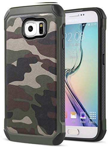 FDTCYDS Samsung S6 Hülle Defender Shockproof Hybrid Rugged Camouflage Cover Hülle für Samsung Galaxy S6 - Grün